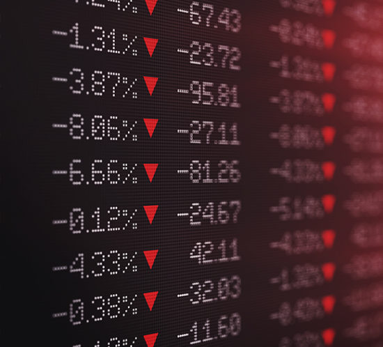 Screen of stocks and shares numbers